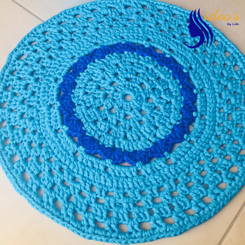 Tappeto blu fiore2